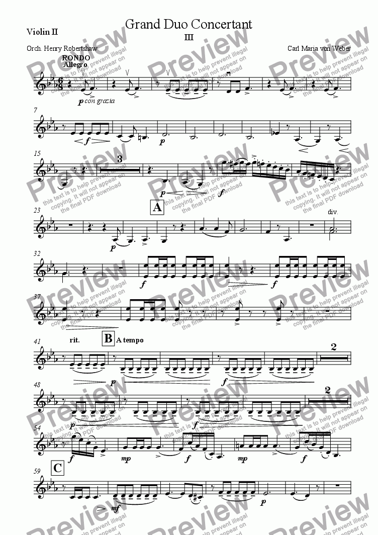 page one of the Violin II part from Grand Duo Concertant, III. Rondo (Allegro)