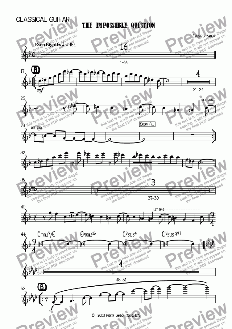 page one of the Acoustic Guitar part from The Impossible Question