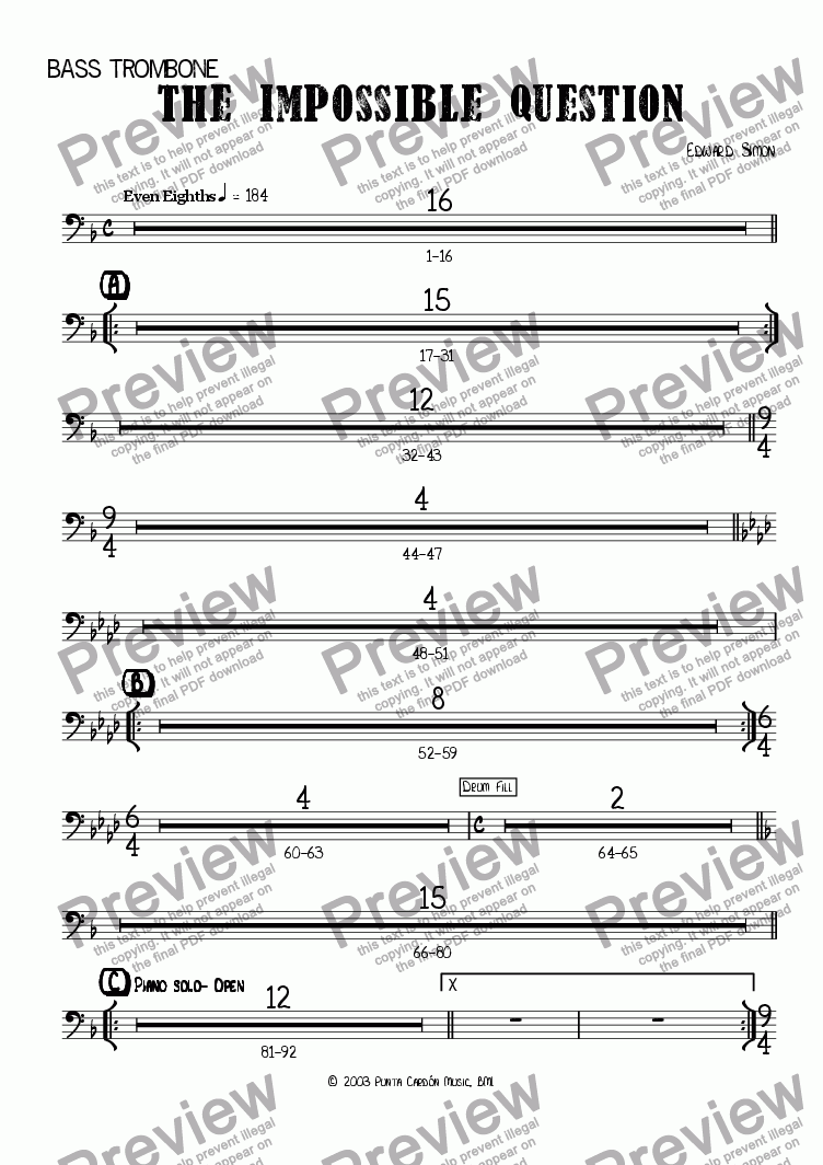 page one of the Bass trombone part from The Impossible Question
