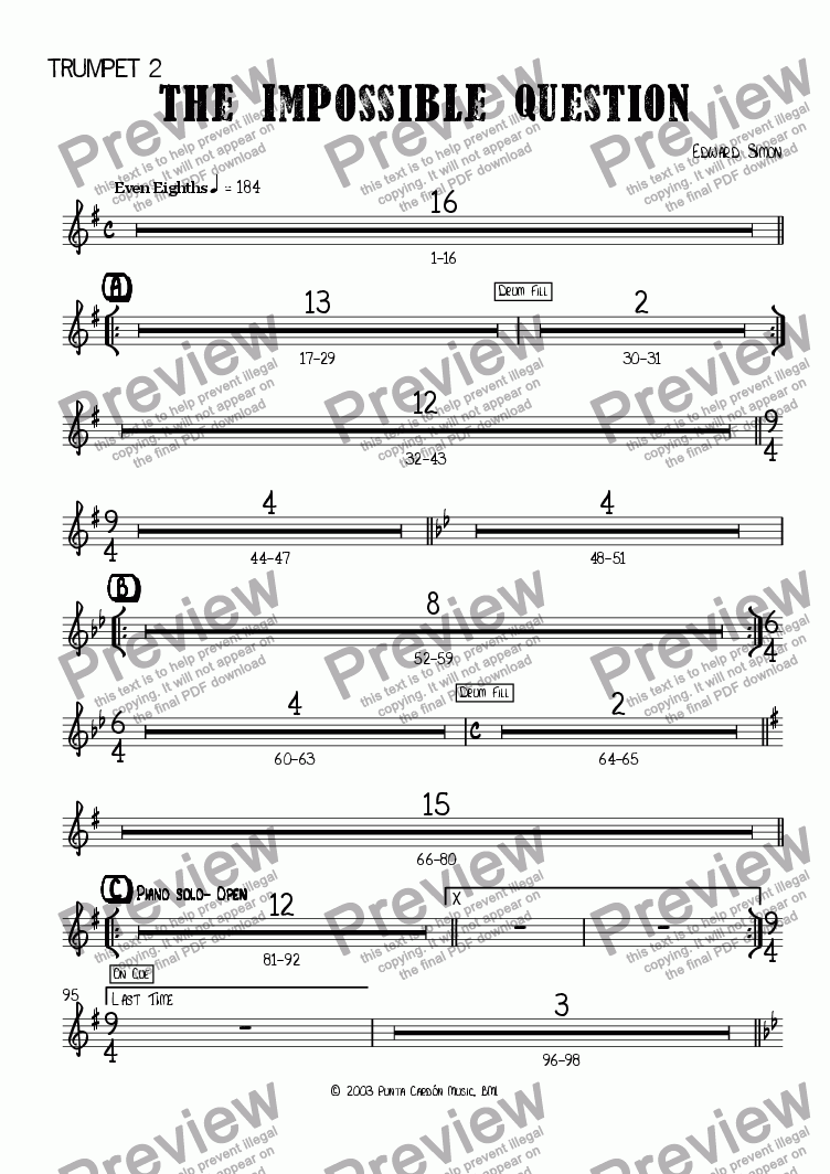 page one of the Trumpet 2 part from The Impossible Question