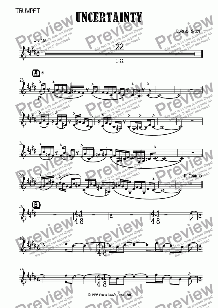 page one of the Trumpet part from Uncertainty
