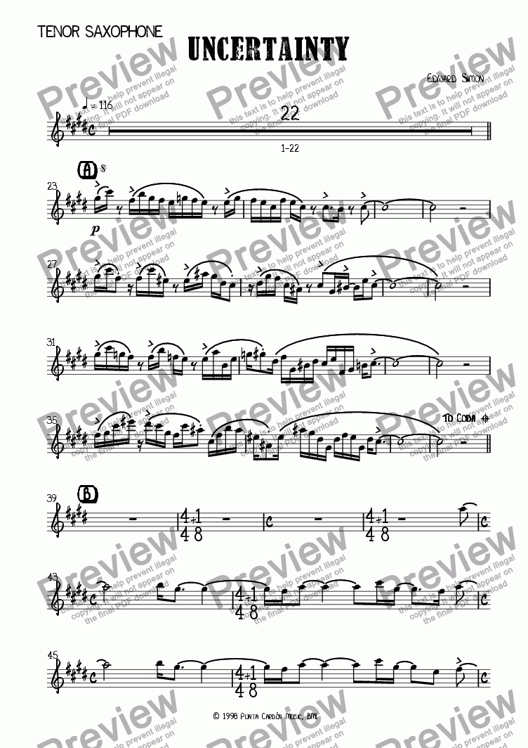 page one of the Tenor saxophone part from Uncertainty