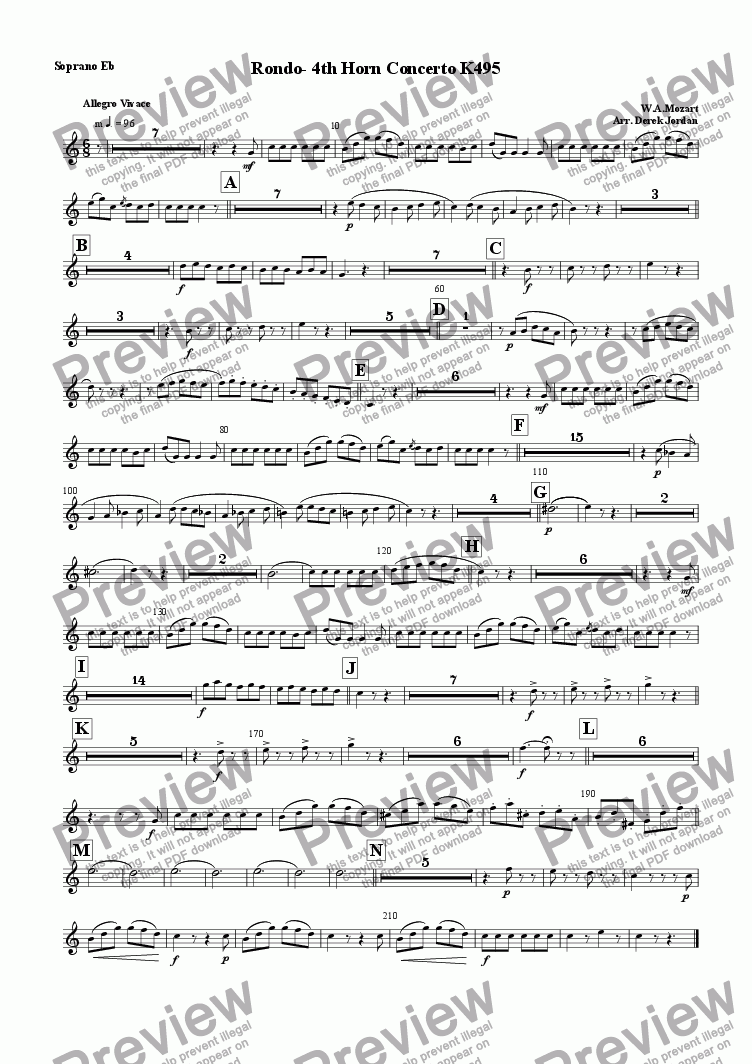 page one of the Soprano Eb part from Rondo-4th Horn Concerto K495