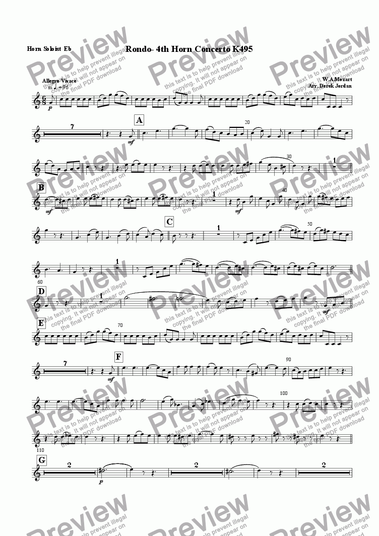 page one of the Horn Soloist Eb part from Rondo-4th Horn Concerto K495