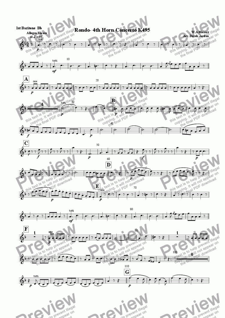 page one of the 1st Baritone Bb part from Rondo-4th Horn Concerto K495