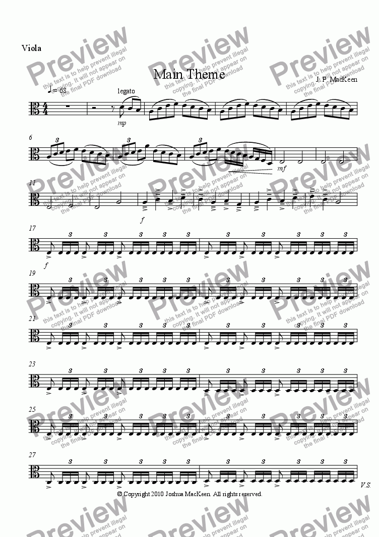 page one of the Viola part from Main Theme