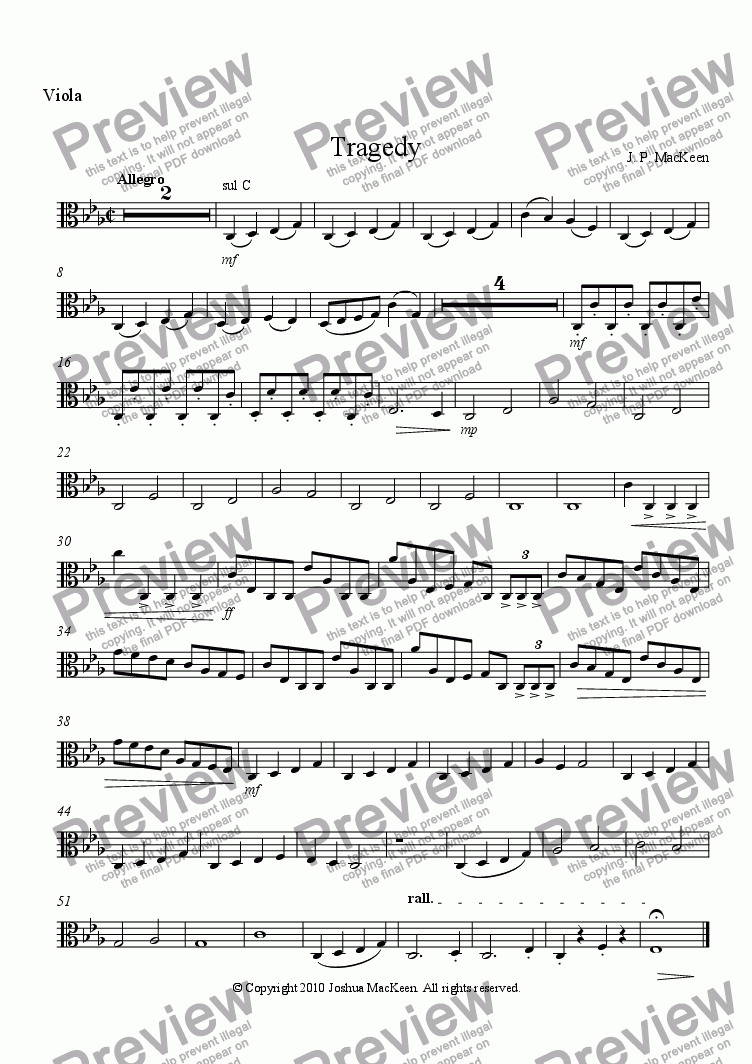 page one of the Viola part from Tragedy