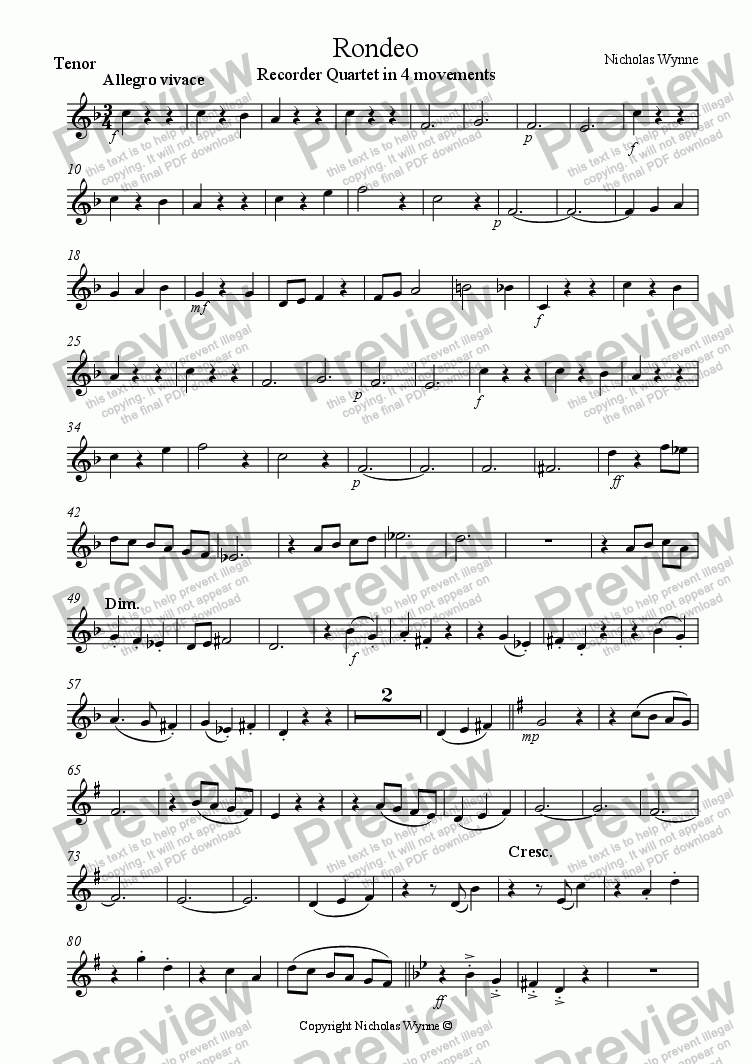 page one of the Tenor Recorder part from Rondeo for Recorder Quartet in 4 Movements