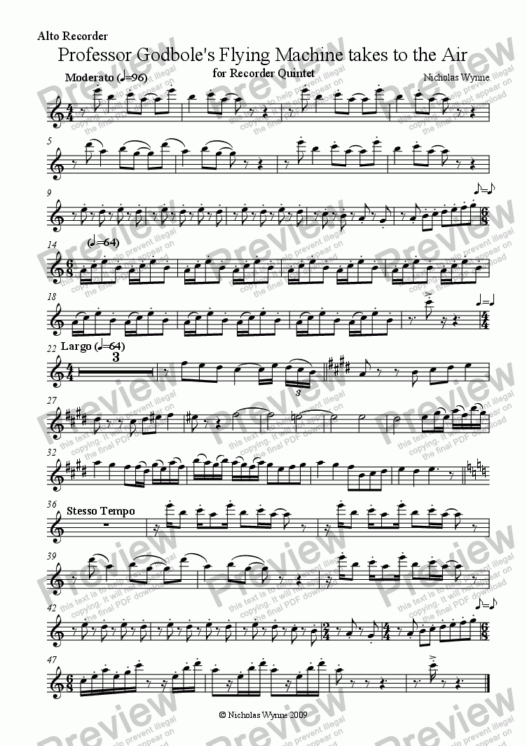 page one of the Alto recorder part from Professor Godbole's Flying Machine Takes to the Air for Recorder Quintet