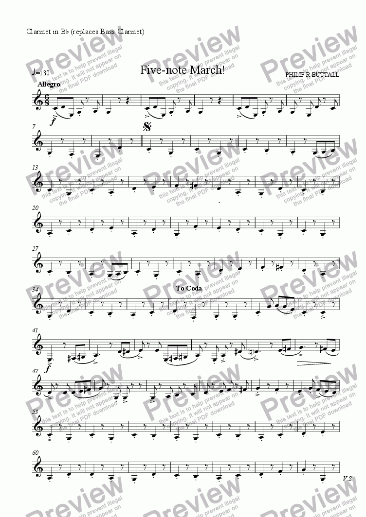 page one of the Clarinet in Bb (replaces Bass Clarinet) part from Five-note March! (Clarinet Quartet)