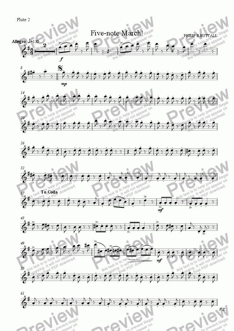 page one of the Flute 2 part from Five-note March! (Flute Choir)