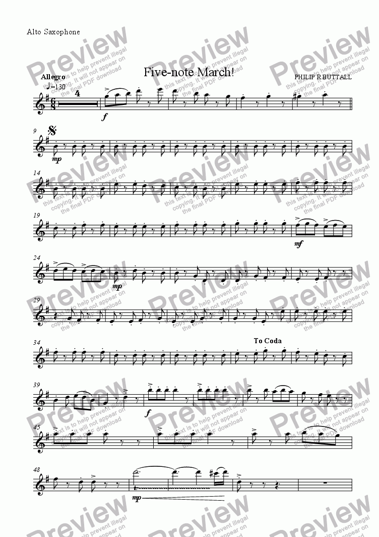 page one of the Alto Saxophone part from Five-note March! (Saxophone Quartet / Quintet)