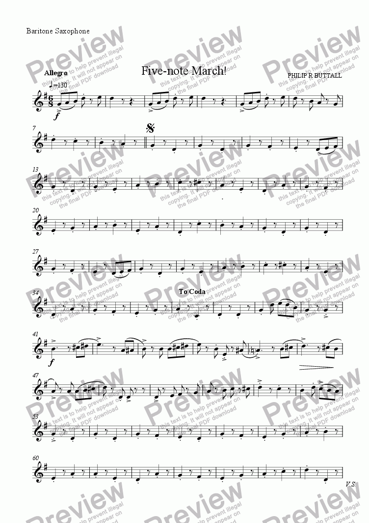 page one of the Baritone Saxophone part from Five-note March! (Saxophone Quartet / Quintet)