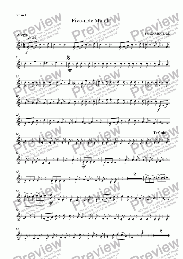 page one of the Horn in F part from Five-note March! (Wind Quintet)