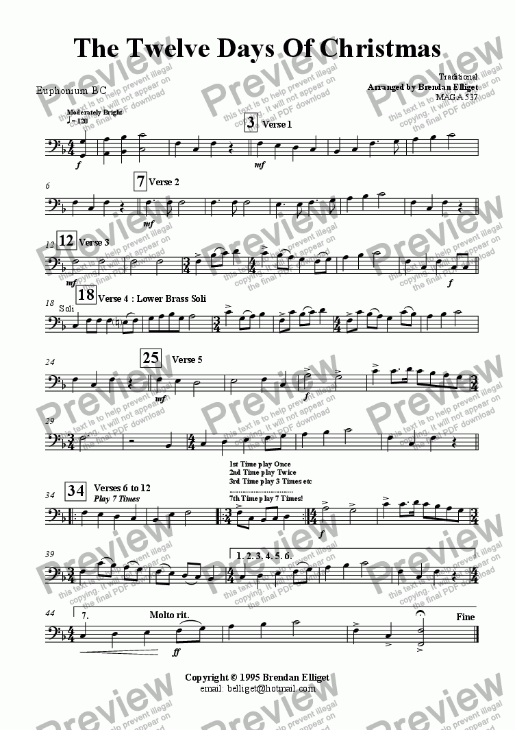 page one of the Baritone Bc part from The Twelve Days of Christmas - Concert Band
