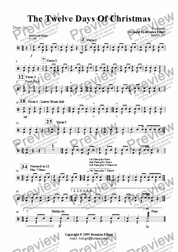 page one of the Drum Set part from The Twelve Days of Christmas - Concert Band