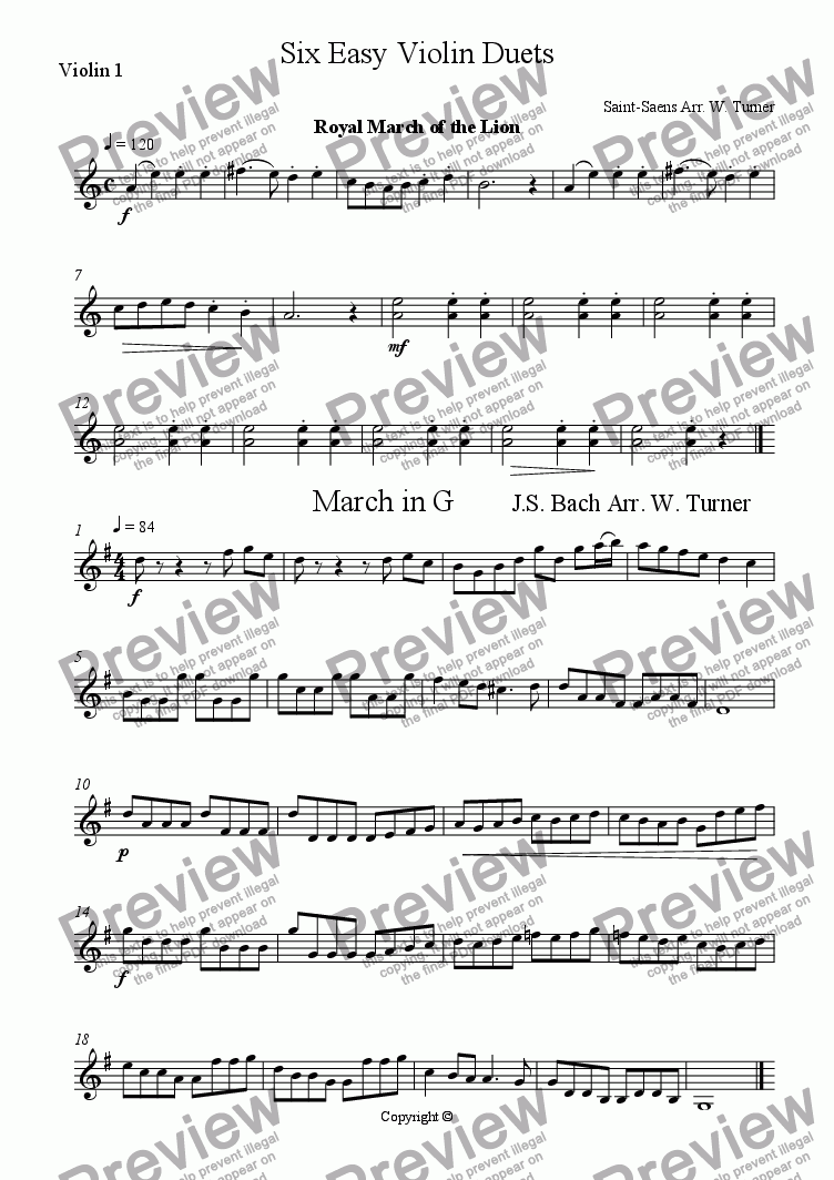 page one of the violin I part from Six Easy Violin Duets