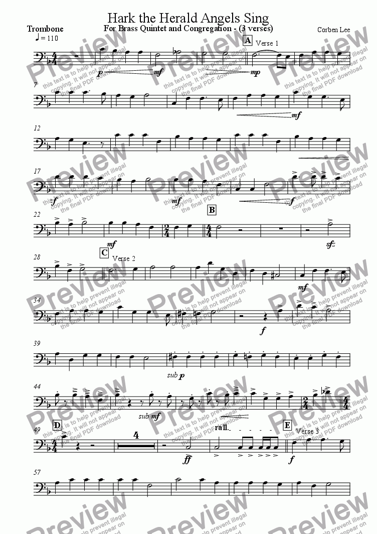 page one of the Trombone part from Hark the Herald Angels Sing for Brass Quintet and Congregation