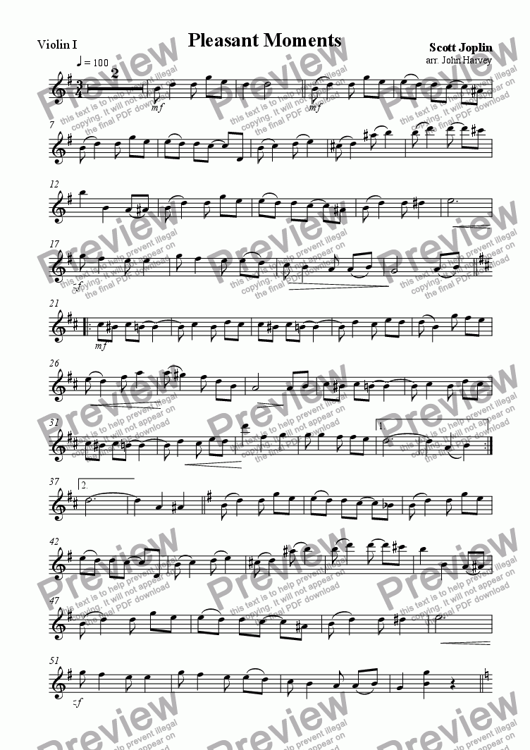 page one of the Violin 1 part from Pleasant Moments