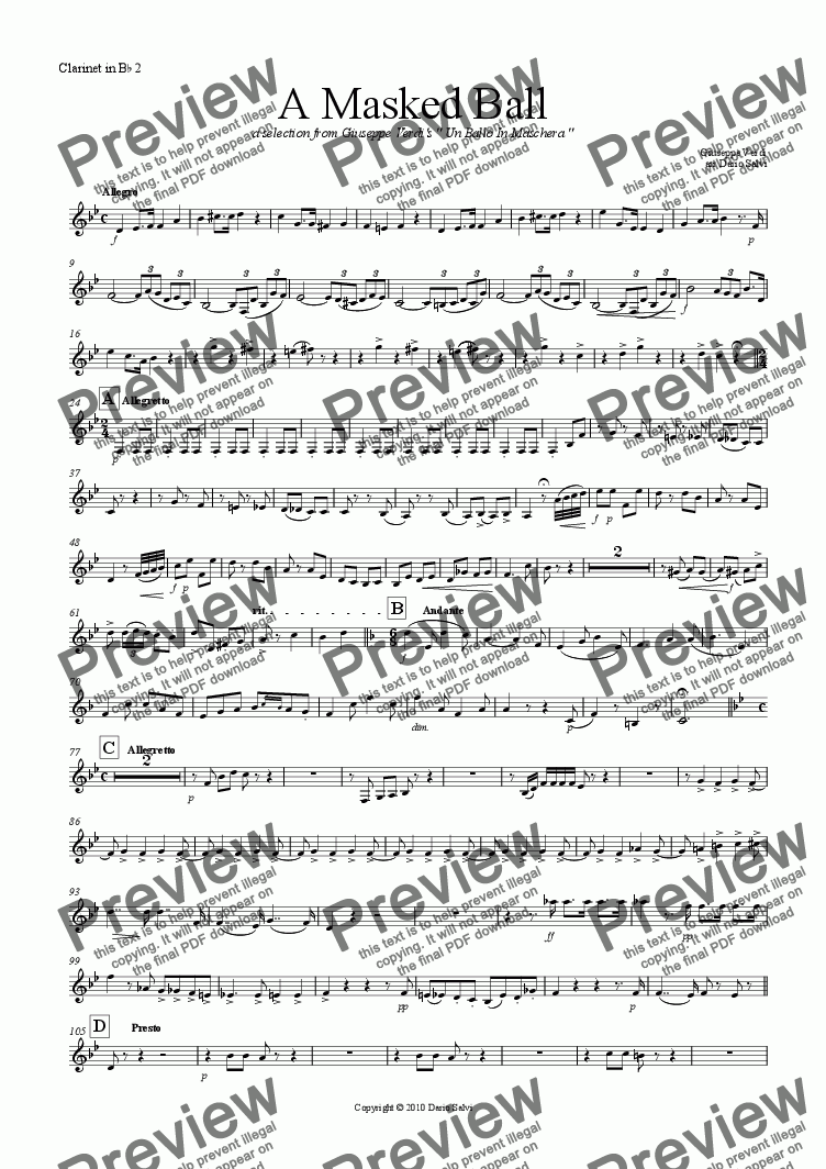 page one of the 2 clarinet part from A Masked Ball - Un Ballo In Maschera