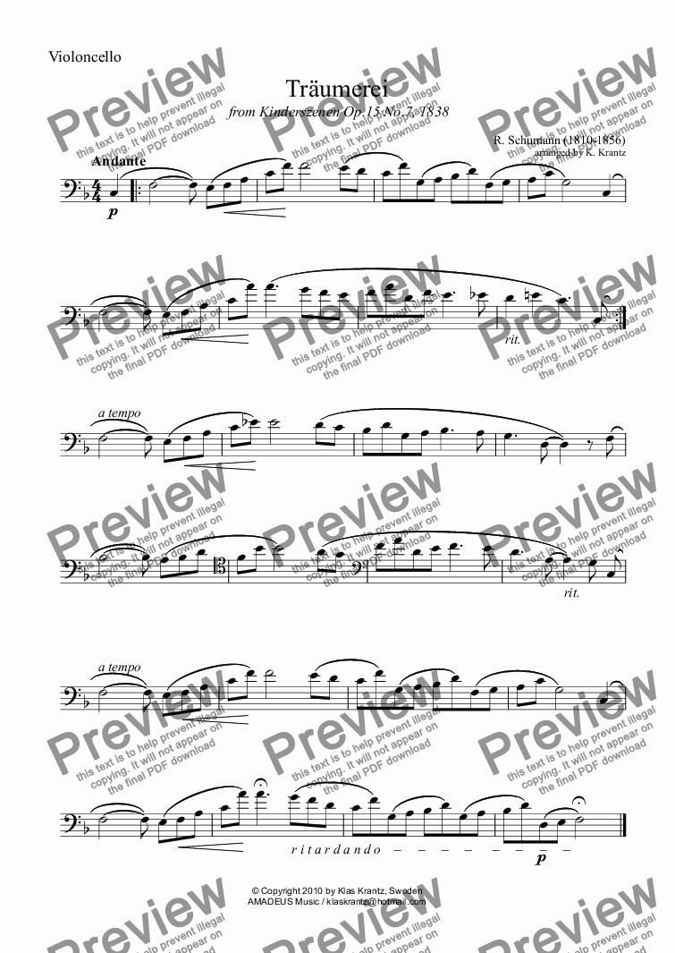 page one of the violoncello part from Traumerei / Reverie / Dreaming Op.15 No.7 for violoncello and piano