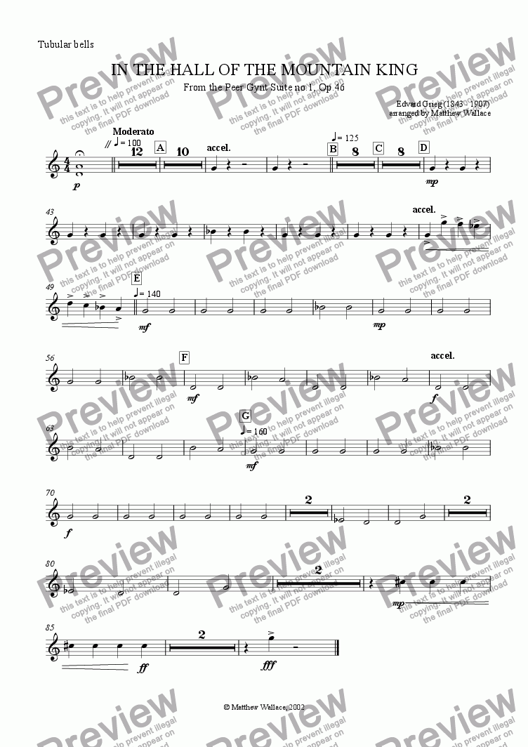 page one of the Tubular Bells part from In the Hall of the Mountain King