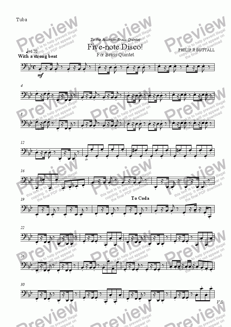 page one of the Tuba part from Five-note Disco! (Brass Quintet)