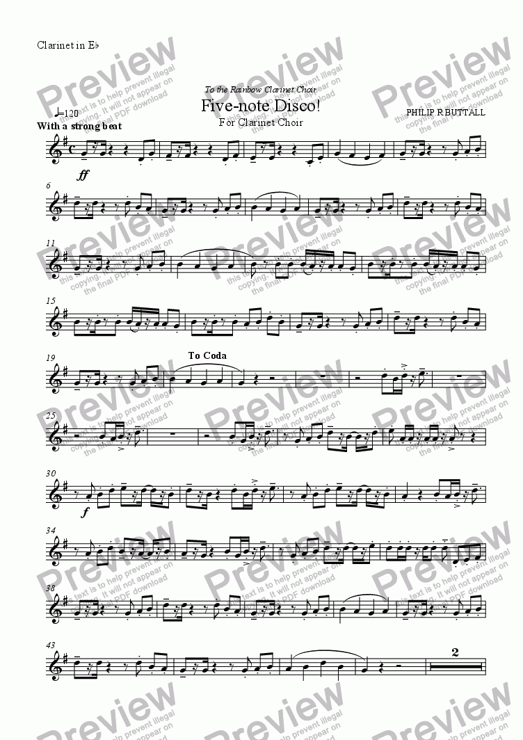 page one of the Clarinet in Eb part from Five-note Disco! (Clarinet Choir)