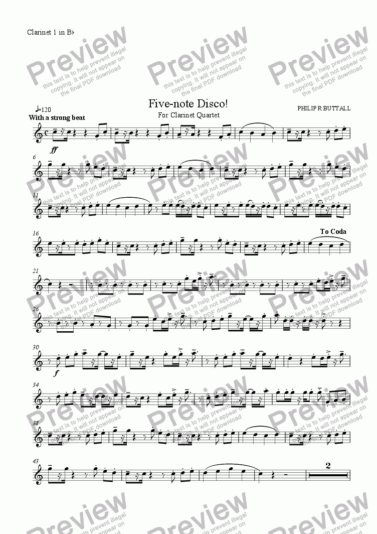 page one of the Clarinet 1 in Bb part from Five-note Disco! (Clarinet Quartet)