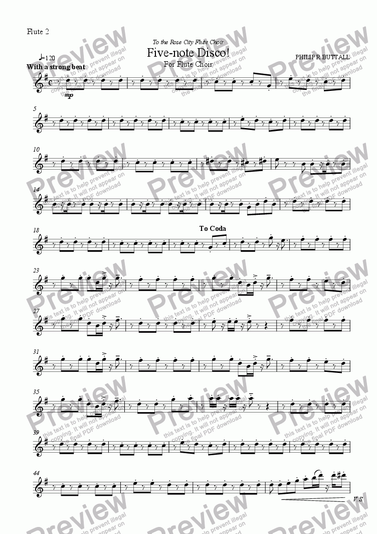 page one of the Flute 2 part from Five-note Disco! (Flute Choir)