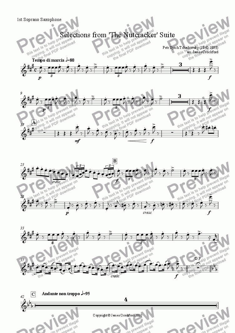 page one of the 1st Soprano Saxophone part from Selections from the 'Nutcracker' Suite for Saxophone Octet