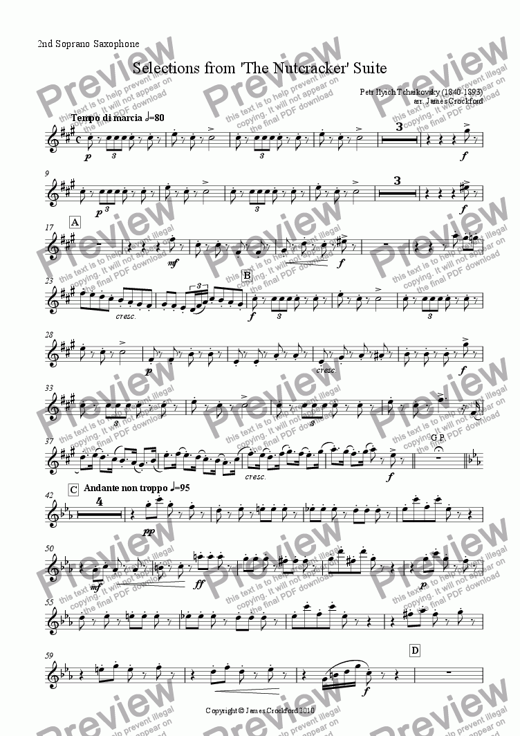 page one of the 2nd Soprano Saxophone part from Selections from the 'Nutcracker' Suite for Saxophone Octet