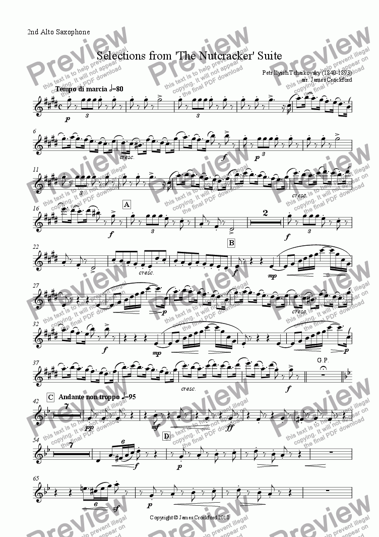 page one of the 2nd Alto Saxophone part from Selections from the 'Nutcracker' Suite for Saxophone Octet