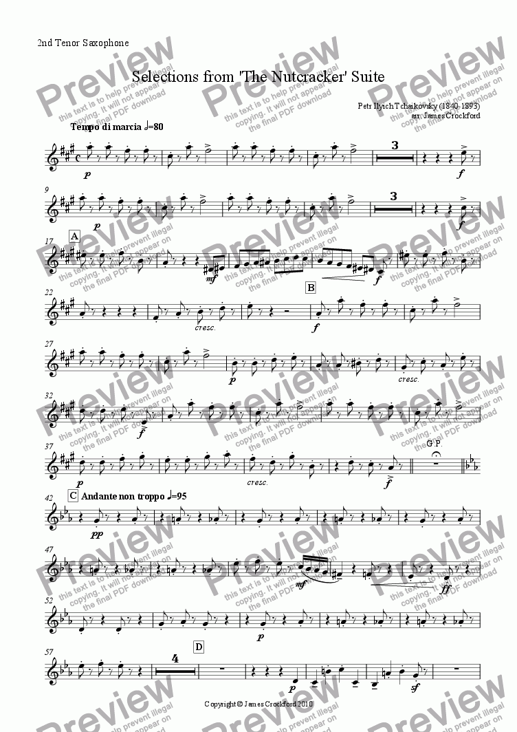 page one of the 2nd Tenor Saxophone part from Selections from the 'Nutcracker' Suite for Saxophone Octet