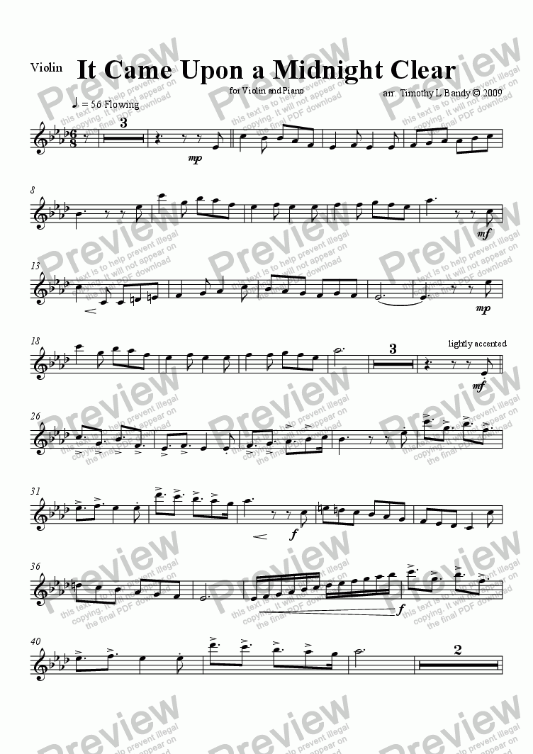 page one of the Violin part from It Came Upon a Midnight Clear