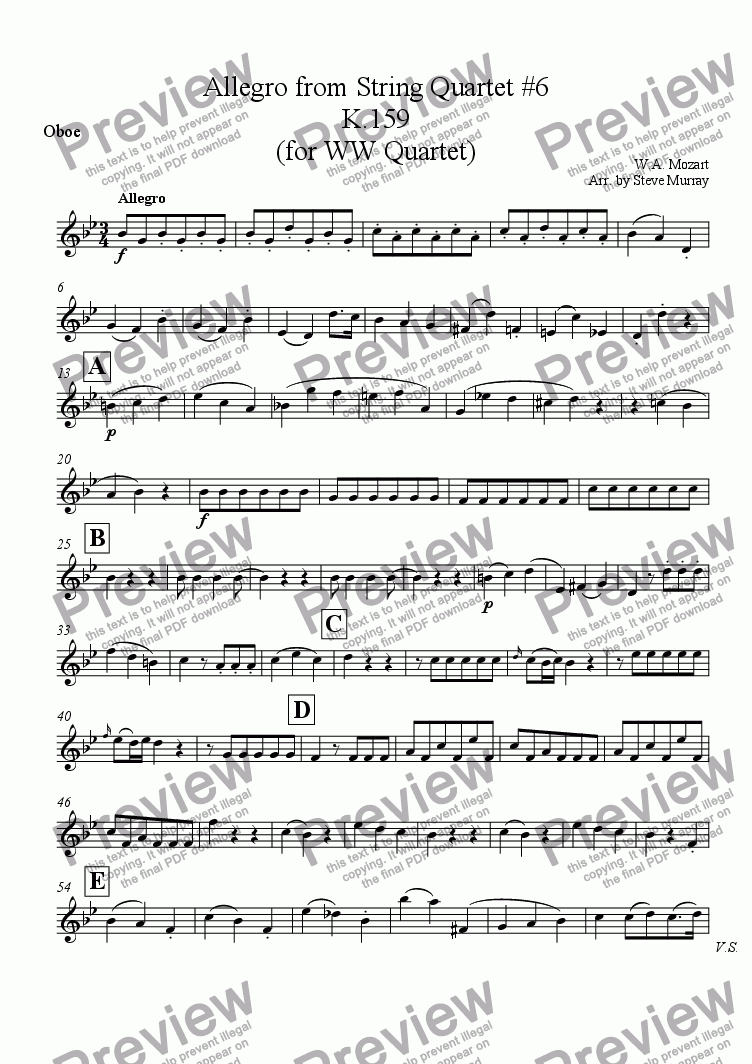 page one of the Oboe part from Allegro from Mozart String Quartet K.159 (for W.W. Quartet)
