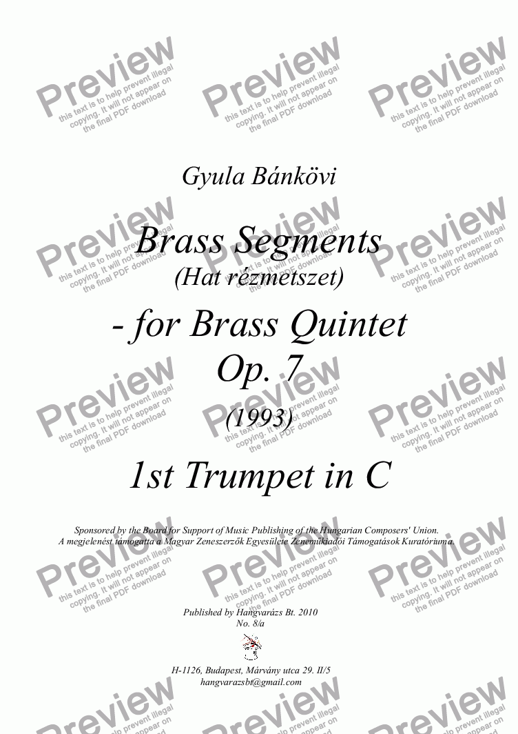 page one of the 1st Trumpet in C part from Brass Segments