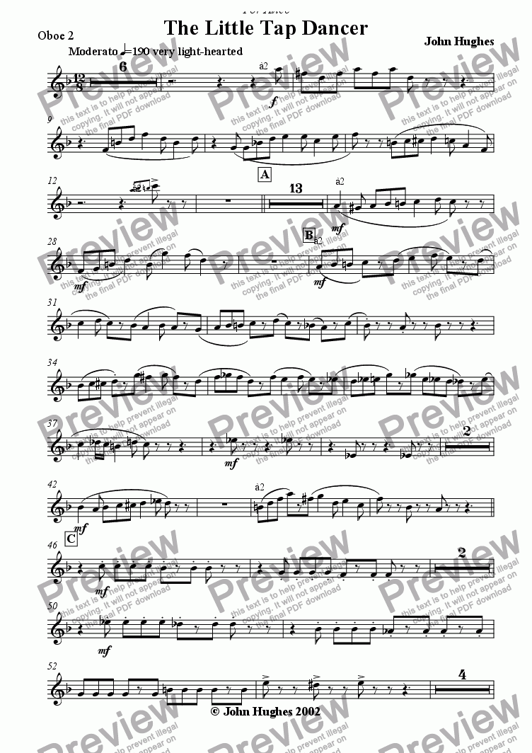 page one of the Oboe 2 part from The Little Tap Dancer