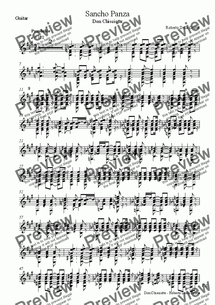 page one of the Guitar part from Sancho Panza - Don Chisciotte