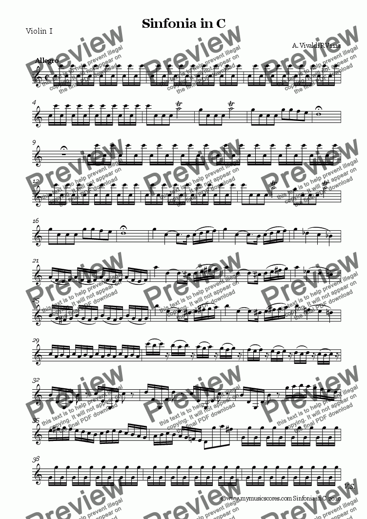 page one of the Violin 1 part from Vivaldi Sinfonia in V RV 111a