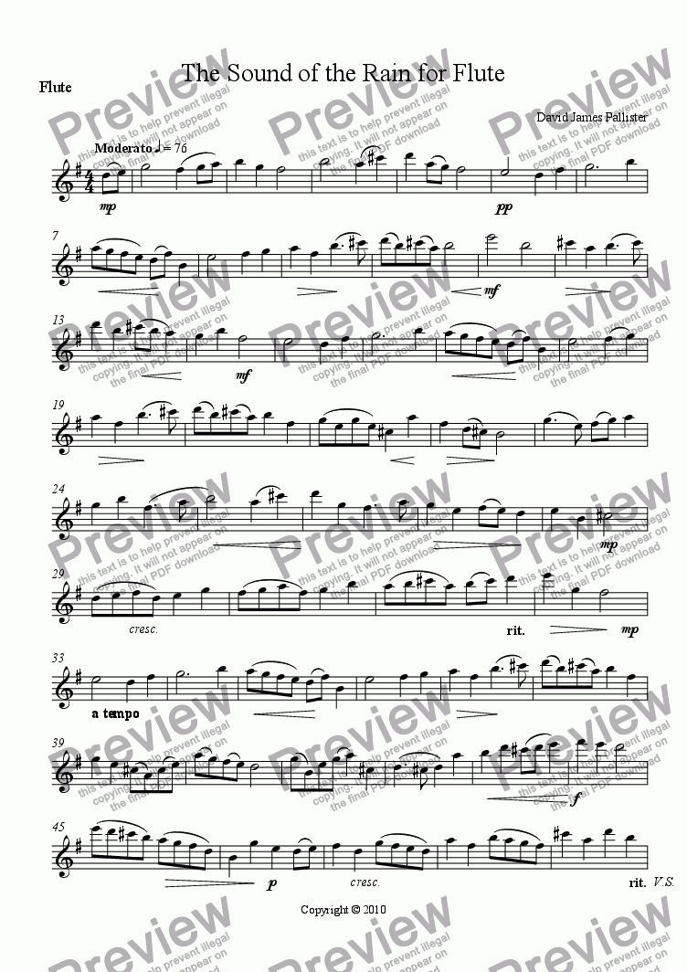 page one of the Flute part from The Sound of the Rain for Flute