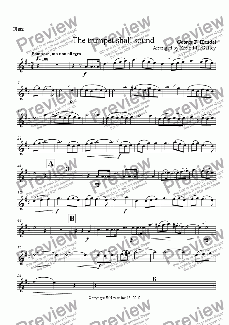 page one of the Flute part from Handel: The Trumpet Shall Sound, arr Wind Quintet