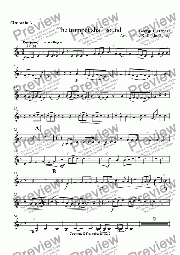 page one of the Clarinet in A part from Handel: The Trumpet Shall Sound, arr Wind Quintet