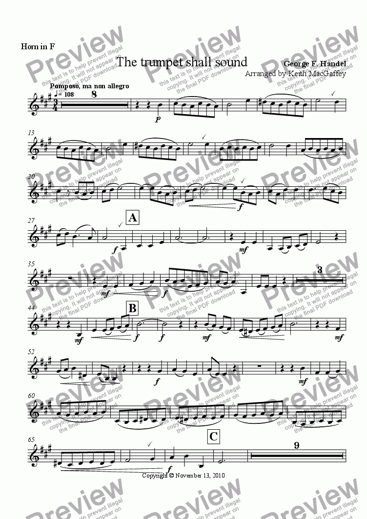 page one of the Horn in F part from Handel: The Trumpet Shall Sound, arr Wind Quintet