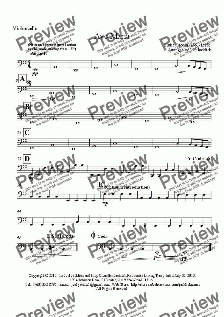 page one of the Cello part from Ave Maria (E minor - Mezzo-Soprano) (Caccini 1551-1681)