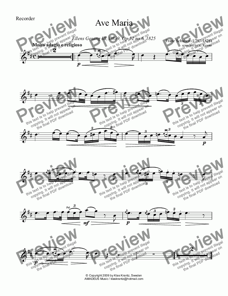page one of the treble recorder (descant recorder) part from Ave Maria Op. 52 No. 6 for treble (and descant) recorder and guitar