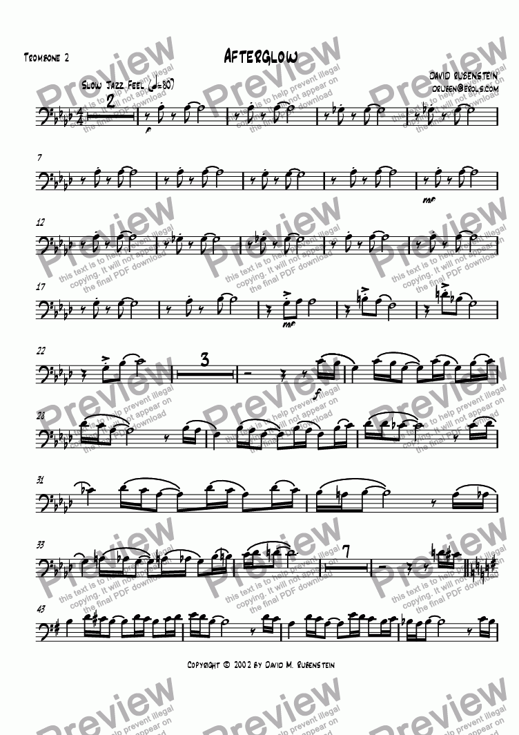 page one of the trombone 2 part from Afterglow