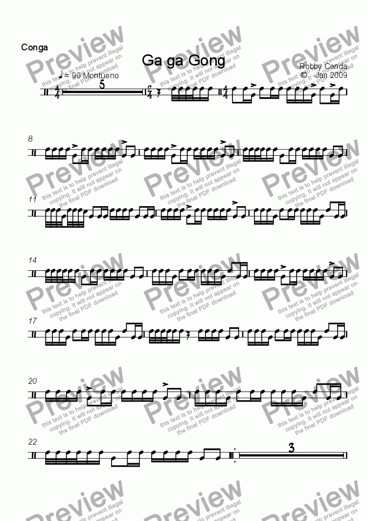 page one of the Congo drum part from Ga Ga  Gone