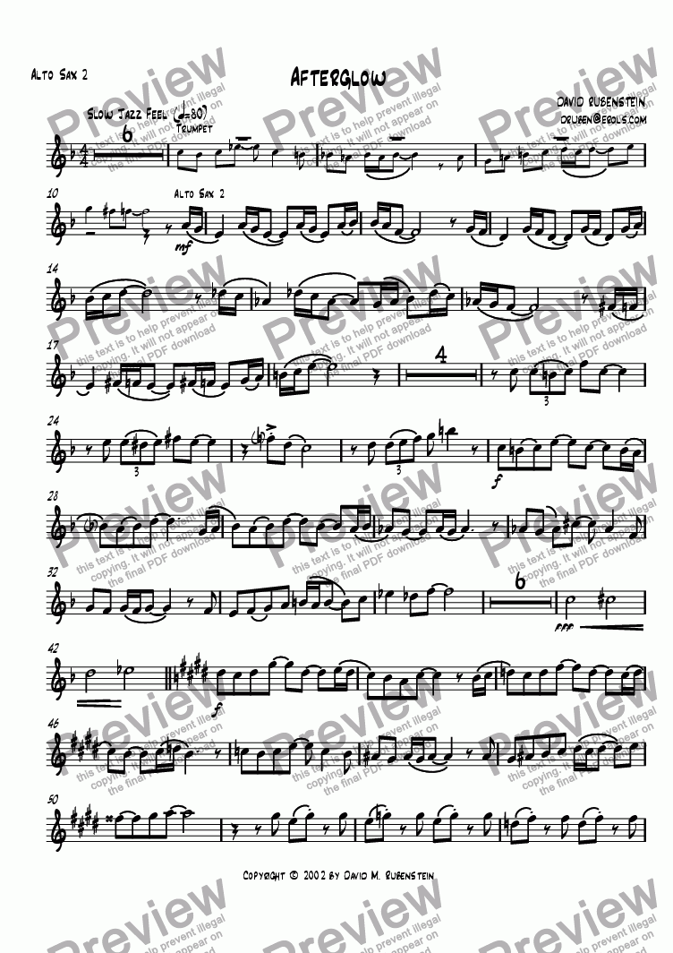 page one of the alto sax 2 part from Afterglow