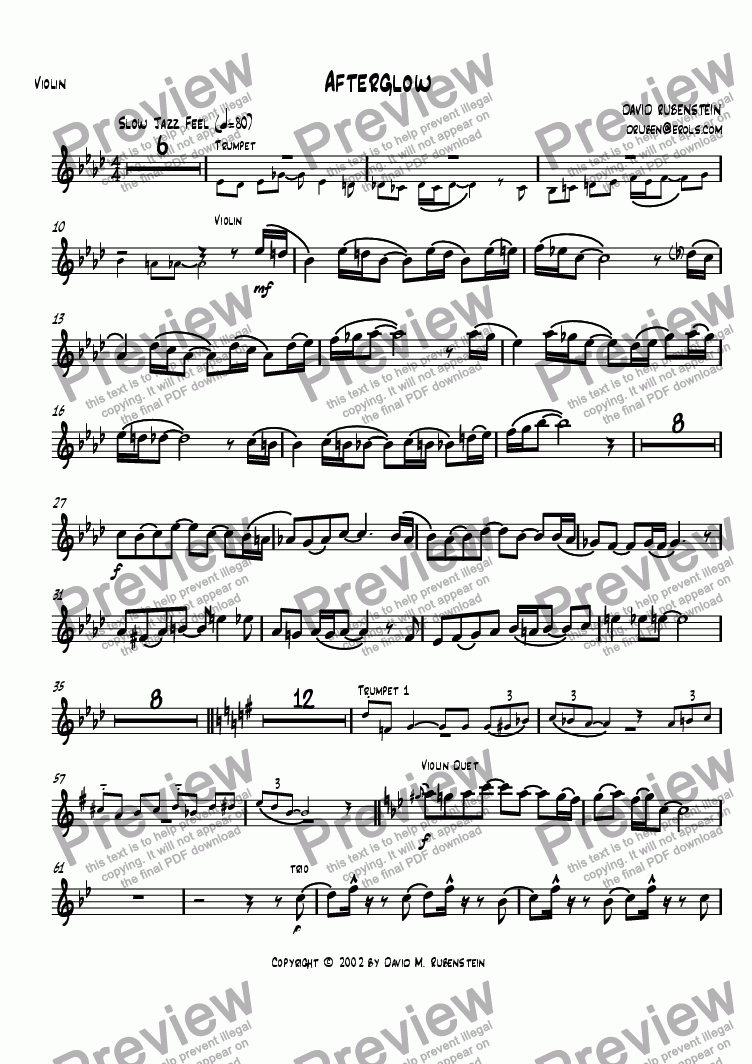 page one of the violin part from Afterglow